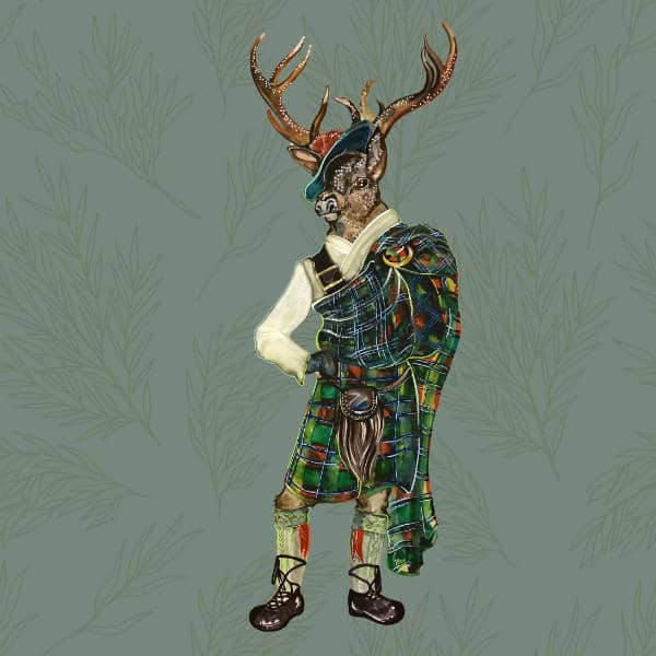 An illustration of The Elm Tree character Hamish the Stag. He is a stag in a kilt.