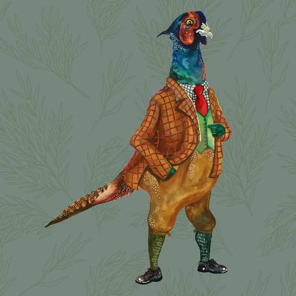 An illustration of The Elm Tree character Percy Pheasant. He is a pheasant in a suit.